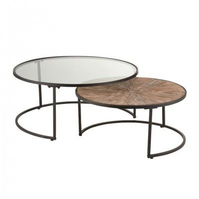 ROUND METAL BLACK CENTRO TABLES SET