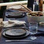6 BLACK LAGOA DINNER PLATES - COSTA NOVA