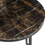BLACK MARBLE SIDE TABLE L