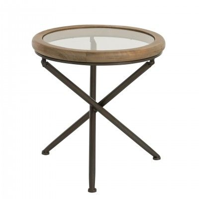 WOOD & GLASS ROUND SIDE TABLE