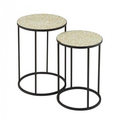 METAL & GLASS SHARD MOSAIC SIDE TABLES SET