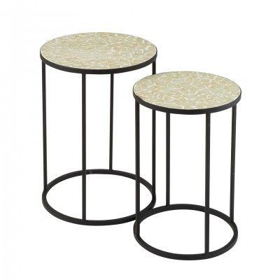 METAL & GLASS SHARD MOSAIC SIDE TABLES SET