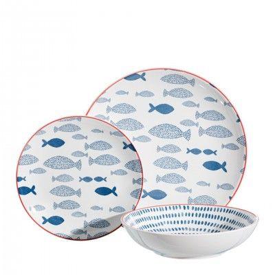 BLUE FISH DINNERWARE SET - 18 PIECES