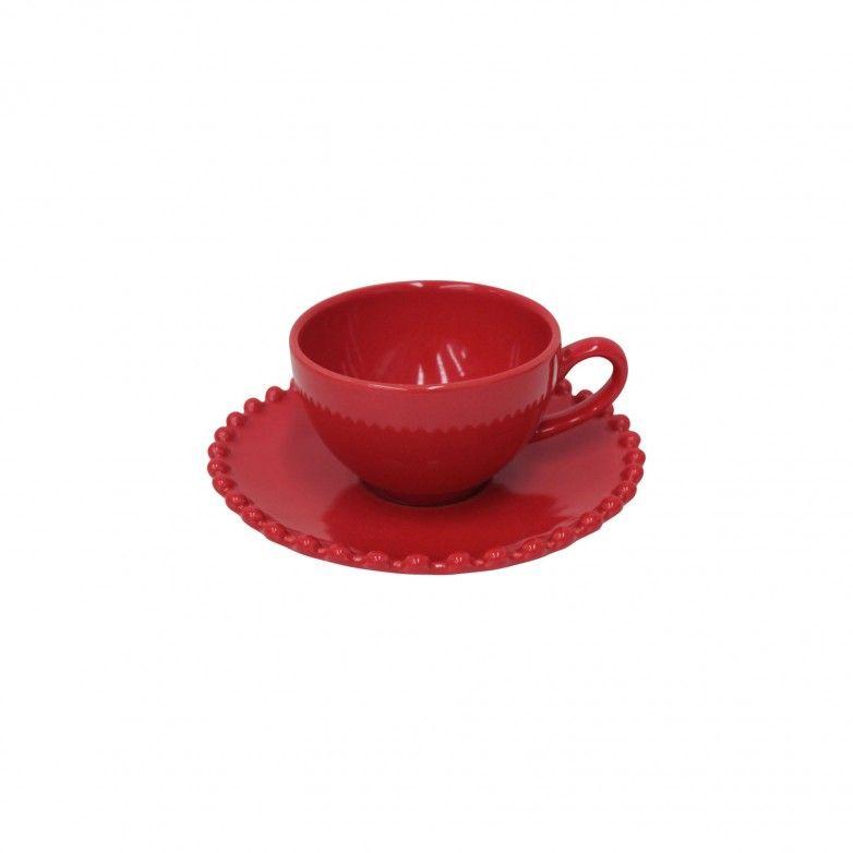 6 TAZAS CAFÉ Y PLATO PEARL RUBI